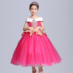 オーロラ姫ドレス コスプレ衣装 子供 女の子 ティアラとステッキ付き 子供ドレス レースワンピース ロングワンピース ノースリーブ キッズ 洋服 パーティー|shop-momo