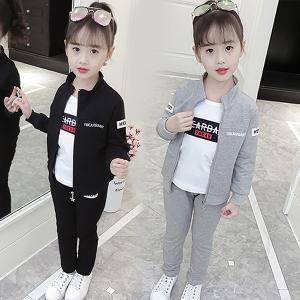 韓国子供 ファッション ジャージ 上下セット スウェット 3点セットアップ トレーニングウェア 女の子 スポーツウェア キッズ ジュニア 子供服 春秋|shop-momo