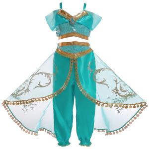 ハロウィン 衣装 プリンセスドレス ブルー コスチューム インディアン ジャスミン姫 子供用 アラブ 中東|なりきりワンピース コスプレ 余興 仮装|shop-momo
