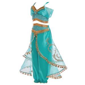 ハロウィン 衣装 プリンセスドレス ブルー コスチューム インディアン ジャスミン姫 子供用 アラブ 中東|なりきりワンピース コスプレ 余興 仮装|shop-momo|02