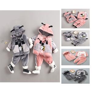 韓国子供服 キッズ 女の子 男の子 3点セット ベビー ジャージ 上下セット セットアップ おしゃれ スウエット 赤ちゃん セットアップ パーカー 裏起毛 shop-momo