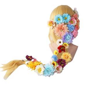 ハロウィン コスプレ イベント ウイッグ ラプンツェル 風 コスプレウィッグ 120cm 花の髪飾り付き コスチューム かつら 耐熱 専用ネット付き cosplay costume|shop-momo