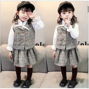 女の子スーツ 子供服 セットアップ 子供チェック フォーマルスーツ 3点セット チェックベスト 入学 入園 通学セット 面接 卒業式|shop-momo