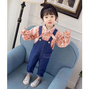 デニム オーバーオール サロペット オールインワン 子供服 女の子 2点セット キッズ パンツ シャツ スパッツ Gパン ジーンズ オールシーズン|shop-momo