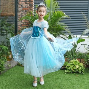 アナ雪 エルサドレス プリンセス  子供ドレス パーティードレス  コスチューム  キッズ 女の子 子供  パフォーマンス 舞台ドレス ハロウィン コスプレ|shop-momo