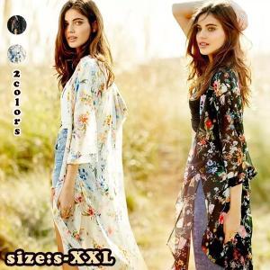 カーディガン 日焼け対策 UVカット シフォンカーディガン ロングカーディガン ロングシャツ 花柄 ロング ワンピース 冷房対策 シフォン シャツ 透け感|shop-momo