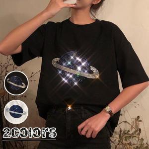 tシャツ 半袖 ティーシャツ 大きいめ トップス 春夏 スパンコールtシャツ レディース 半袖 カジュアル トップス ゆったり カットソー|shop-momo