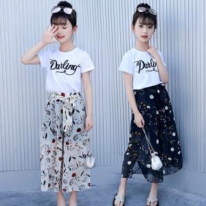 ワイドパンツ 女の子 セットアップ ロングパンツ Tシャツ 半袖 シフォン キッズ トップス ガウチョ パンツセット 2点セット ガールズ 子供 上下セット 普段着|shop-momo