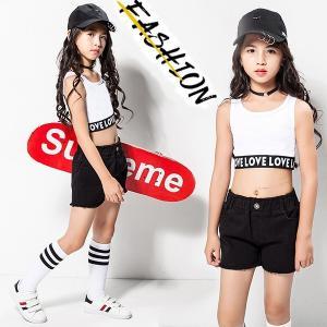 子供ダンス衣装 子供服 ヒップホップ セットアップ スウェット 女の子 タンクトップ 上下セット ジャズ キッズ ジュニア ダンスウェア 応援団 ステージ衣装|shop-momo