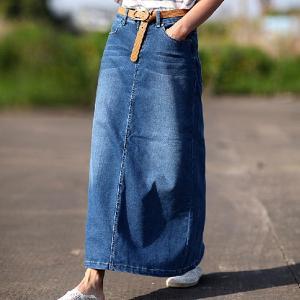 ヴィンテージ加工 デニムスカート フレアスカート マキシ デニム マキシ丈 スカート ミモレ丈 膝下 ロング ロングスカート ウェストゴム  ゆったり 大きいサイズ|shop-momo