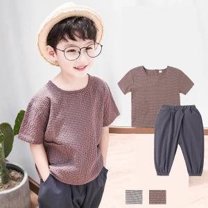 キッズ セットアップ 男の子 半袖 子供服 半袖Tシャツ+サルエルパンツ 2点セット リネン カジュアル上下セットアップ 夏 シンプル 新作 透気抜群 韓国風|shop-momo