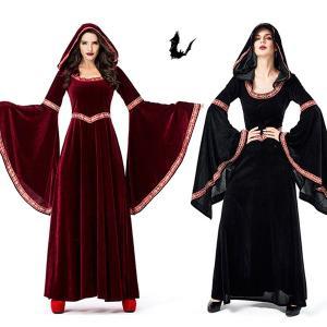 中世ヨーロッパ貴族 魔女 悪魔 レディース 吸血鬼 バンパイア ハロウィン衣装 女性用 巫女 宮廷装 ハロウイン コスチューム コスプレ衣装 イベント 文化祭|shop-momo