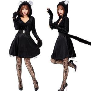 黒猫 コスプレ ネコ 猫 仮装 レディース ハロウィン衣装 大人用 動物 コスチューム 3点セット セクシー ハロウイン コスプレ衣装 ワンピース パーティー 演出服|shop-momo