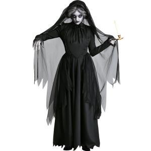 即納 花嫁 ゾンビ コスプレ衣装 怖い ハロウィン衣装 レディース 黒い花嫁 幽霊の花嫁 魔女 コスプレ 仮装 吸血鬼 幽霊 悪魔 演出服 変装 ハロウィーン 文化祭|shop-momo