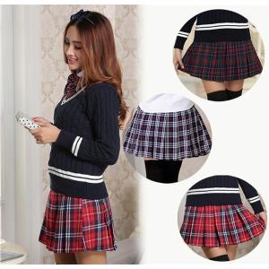 チェック柄ミニスカート 格子縞 可愛いレディーススカート タータンチェック 全3色プリーツ チェックスカー ひざ丈|shop-momo