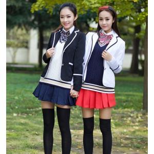 女子高生 なんちゃって制服  4点セット セーラー服 韓風 洋服JK制服 学園祭 レディース アイドル リボン ネクタイ|shop-momo