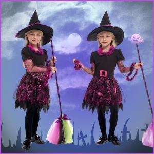 即納 ハロウィン コスプレ衣装 子供用 魔女 帽子 女の子 チュチュ ワンピース 魔法使い ウィッチ デビル 魔法師 手品師 yw0527 shop-momo