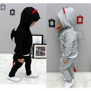 ハロウィン 衣装 子供 男の子 コウモリ コスチューム カジュアル デビル コスプレ キッズ ジャージ キッズ セットアップ スウェット上下セット悪魔 フード付き|shop-momo