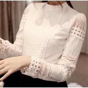 即納 シャツ 長袖 レディース ブラウス 透かし彫り 刺繍 白シャツ フォーマル カジュアル ワイシャツ 細身 無地 トップス 春夏 着痩せ ジ オシャレ 涼しい|shop-momo