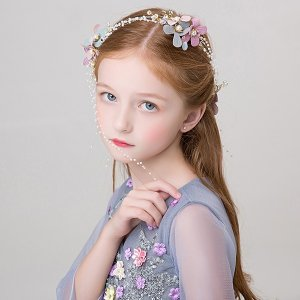 ヘアピンヘッドドレス子供髪飾りヘアリボン  ビジュー  フラワーティアラ花かんむり 結婚式 子供髪飾り  キッズ フォーマル ウエディング 結婚式 発表会 shop-momo