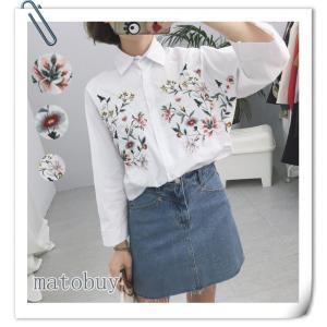即納 花柄刺繍シャツ ブラウス トップス  レディース ドルマンスリーブ 女性 ワイシャツ 刺繍入り 立ち襟 欧米風シャツ 春夏 かわいい 着痩せ パンチング|shop-momo