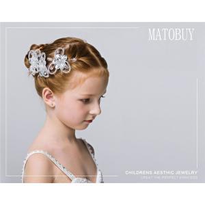 【子供髪飾り】 ピン ヘアクリップ リボン キラキラ 子供アクセサリー バレッタ 丸みの可愛いビジューフラワーヘアクリップ 発表会 結婚式 卒業式 shop-momo