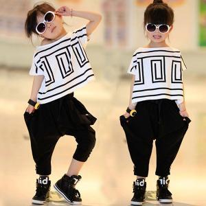 キッズ ヒップホップダンス衣装 tシャツ サルエルパンツ 子供 ジュニア ダンスウェア ジャージ セットアップ ジャズダンス|shop-momo