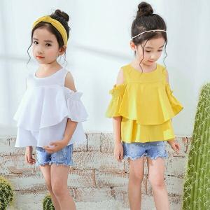 訳あり 即納 送料無料 ビビッドカラーが 可愛い オシャレオフショルダ 肩開きーブラウス ラッフルブラウス 韓国子供服ブラウス キッズ用 こども服 女の子 半袖|shop-momo