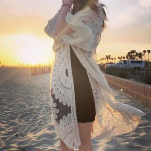 ラッシュガード レディース カバーアップ 7分袖 レース かぎ編み カーディガン 花かぎ針編み 花柄 刺繍 フレア袖 シースルー ビーチ 持ち運び便利 水着|shop-momo