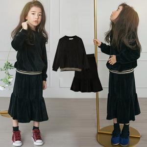 子供服 セットアップ 女の子 スカートセット パーカー トップス キッズ 子供セットアップ 上下セットロングスカート フレアスカート 2点セット 長袖 秋物 春物|shop-momo