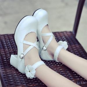 ロリータ 靴  ロリータ  ジーンズ rolita  靴 ヒール 可愛い お嬢様 お姫様風 女性 ガールズ 花びら ファッション|shop-momo