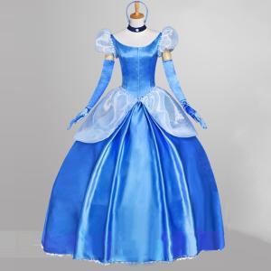 シンデレラドレス プリンセス シンデレラ コスプレ衣装 Cinderella 大人用 コスチューム 映画 ハロウィン コスプレ 仮装 大人 ドレス 変装|shop-momo