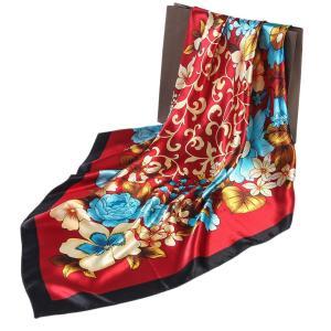 華麗な高級シルク調 花柄90角正方形大判スカーフ (レッド)|shop-n