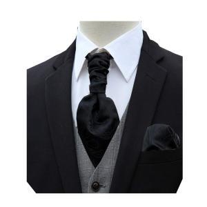黒 アスコットタイ メンズ 結婚式 ワンタッチ アスコットタイ チーフ ビジネス スカーフ フォーマル 礼服 メンズ ネクタイ ブランド プレゼント|shop-n