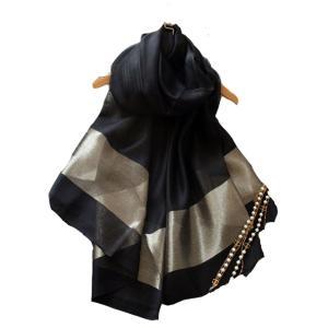 (エスエヌケー)SNK 冷房対策 シルク シフォンの華やかストール・ショール・スカーフ 薄手 羽織り (BALCK)|shop-n