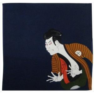 京佑 浮世絵丹後ちりめん風呂敷中巾 45×45cm 写楽 紺|shop-nayuta