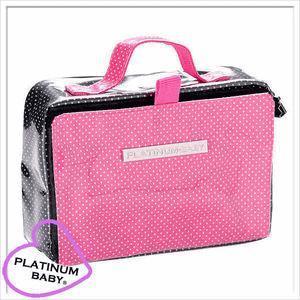 おしりふき ケース プラチナムベイビー ビニール 水玉 黒×ピンク|shop-nico2