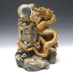 大理石調置物 金龍上山 (大) 33cm 溶解水晶 3個付き|shop-phoenix