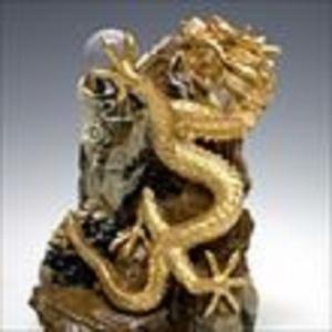 大理石調置物 金龍上山 (中) 21cm 溶解水晶 1個付き|shop-phoenix