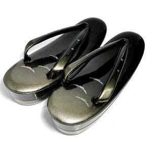 紗織  草履  Lサイズ(24.0〜24.5cm相当) 本革 黒に金ラメの優雅な shop-sakae