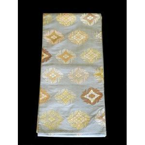 「尾長鳥襷花文」有職文様唐織の袋帯 水灰色地に尾長鳥 美品|shop-sakae