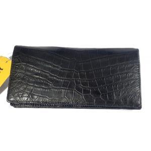 ヘンローン クロコ メンズ 長財布 新品(ブラック)内部までクロコ使用した高級財布 市場価格35万円 shop-sakae