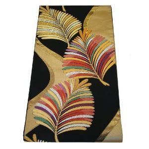 【正絹 袋帯】 S31 西陣織物 唐織の逸品 黒地に舞い上がる羽葉文 斬新な彩が黒地に映えるしゃれ感|shop-sakae
