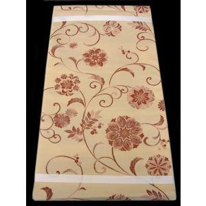 【正絹 袋帯】 SW139 ベージュ色地に唐花の織り柄 綺麗系のおしゃれ帯|shop-sakae