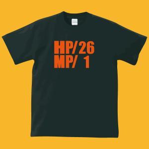 HP・MP Tシャツ・ブラック・プリントオレンジ・瀕死状態|shop-seed