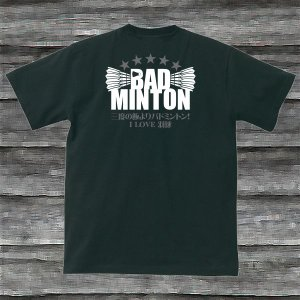 バドミントン・三度の飯よりバドミントンTシャツ・ブラック|shop-seed