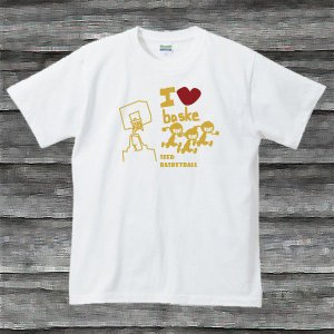 I LOVE BASKE TシャツホワイトG|shop-seed