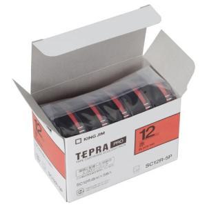 キングジム 純正 テプラテープ カートリッジ PRO 業務用 エコパック 12mm 赤/黒文字 5巻入 (SC12R-P)|shop-shiba-kyoto