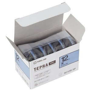 キングジム 純正 テプラテープ カートリッジ PRO 業務用 エコパック 12mm 青/黒文字 5巻入 (SC12B-P)|shop-shiba-kyoto