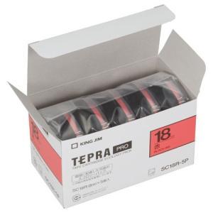 キングジム 純正 テプラテープ カートリッジ PRO 業務用 エコパック 18mm 赤/黒文字 5巻入 (SC18R-P)|shop-shiba-kyoto